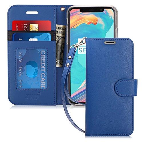 FYY iPhone XS Hülle,iPhone X Hülle,Handyhülle iPhone XS PU Leder Flip Folio Hülle[Ständer Feature] mit ID & Kreditkarte Protector Schutzhülle für iPhone XS/iPhone X, Schwarzblau