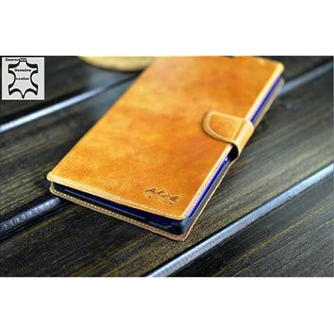 URCOVER® Custodia portafoglio Sony Z Ultra | Protettiva Akira Fatta a Mano | Wallet Case Flip Cover in Vera Pelle marrone | Cuoio Artigianale Elegante Business Premium