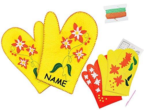 alles-meine.de GmbH Bastelset - Filz -  1 Paar Topfhandschuhe - Blumen  - zum Sticken, einfaches Nähen per Hand - incl. Name - Komplettset filzen Eulen - Creativ - Filzset zum ..