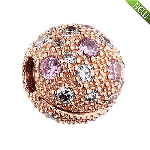 PANDOCCI 2017 neue herbst rose kosmischen sterne clip klar cz perlen authentische 925 sterling silber diy passt für original pandora armbänder charme schmuck