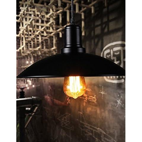 Loft americano ZSQ Pastoral Retro única cabeza cubierta de hierro negro Luz Colgante Restaurante Bar Luz , 220-240 v-black #4436