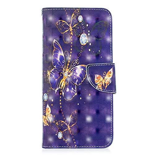 ZCXG Kompatibel mit Samsung Galaxy J4 Prime Hülle, Tiermuster, Leder, Flip Standfunktion, stoßfest, schlankes Design, Kartenschlitz, Magnetverschluss, Transparent #Gold Diamond Butterfly