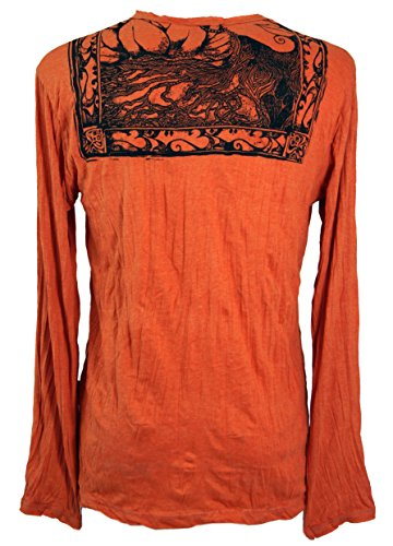 Guru-Shop Langarmshirt Buddha - Rostorange, Herren, Baumwolle, Sure T-Shirts Alternative Bekleidung Orange