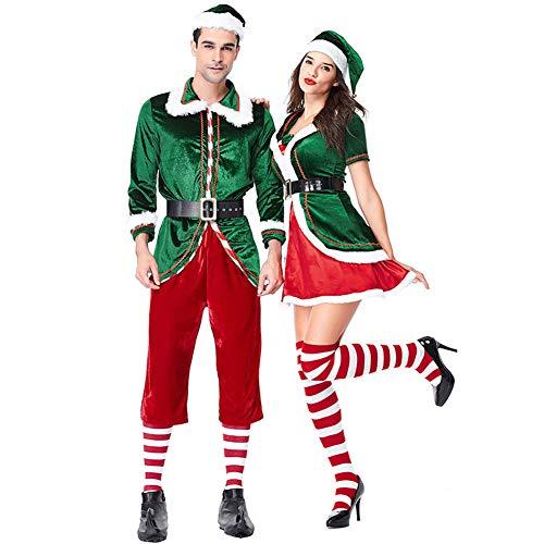 Costour Herren Damen Schickes Weihnachtskostüm Paar tragen Grüne Weihnachtself Set Party Aufführung Rolle Spielen (Günstige Weihnachtskostüm)