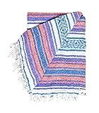 Couverture mexicain-Pastel vintage Boho Couleurs. Excellent Yoga Couverture, couverture de plage, couverture de pique-nique, ou d'un Couvre-lit. fait à la main., White with Purple Orange & Blue, CL