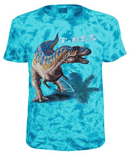 Kinder T-Shirt Dinosaurier T-Rex Tiermotiv Shirt Blau Batik Size 140 (Dinosaurier-jungen-t-shirt)