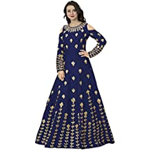 Siddeshwary Fab Women's Navy Blue Taffeta Silk Embroidered Gown for Women (G_04 Blue | Red Priya Gown)