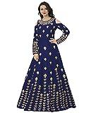 Siddeshwary Fab Women's Taffeta Silk Anarkali Gown For Women (Blue Gown)
