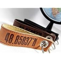 personalisiertes Geschenk zum Valentinstag, Schlüsselanhänger aus Leder mit Koordinaten aussen von Schlüsselundwort
