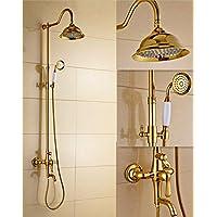 BY-Set doccia dorata, ottone grande doccia vasca da bagno, doccia regolabile stile retrò pioggia doccia insieme, antico Turbo doccia, doccia cellulare personale