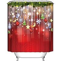 """Hunpta Benutzerdefinierte Frohe Weihnachten Stoff wasserdicht Badezimmerdusche Vorhang 66 """"x 72"""" (Red)"""