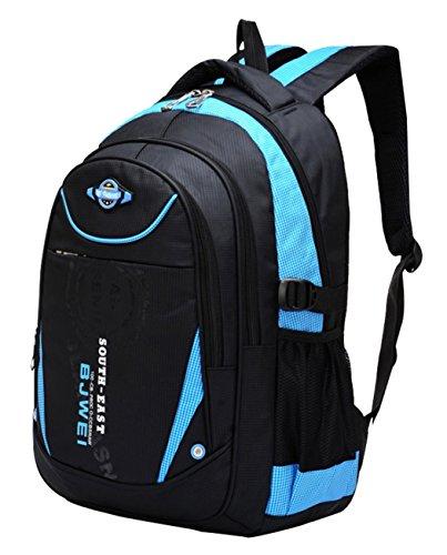 SellerFun Kinder Junge und Mädchen Schulrucksack bzw. Schultasche aus Nylon, Extrem Leicht(Blau)