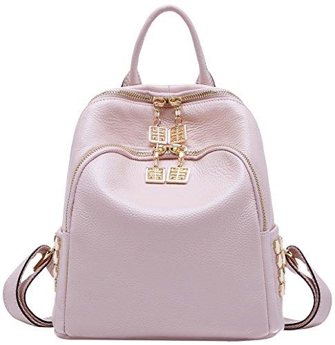 BOYATU Frauen Echtes Leder Rucksack Geldbörse Mode Mini Daypack Schultertasche Hell-pink