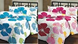 SS Sales Blue & Pink Flower Prints Reversible Single Bed AC Blanket \ Dohar Combo Set Of 2 Pc