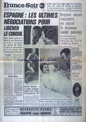 FRANCE SOIR 8 EME EDITION du 23/12/1970