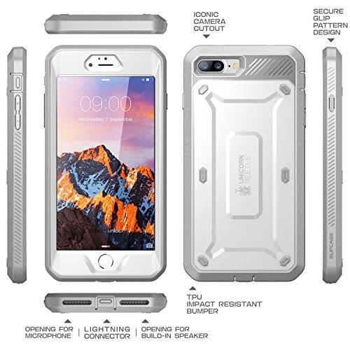 iPhone 7 Plus Hülle, iPhone 8 Plus Hülle, Supcase [Unicorn Beetle PRO] Schutzhülle Stoßfest Schale mit eingebautem Displayschutz und Gürtelclip für Apple iPhone 7 Plus / iPhone 8 Plus, Schwarz Weiß/grau