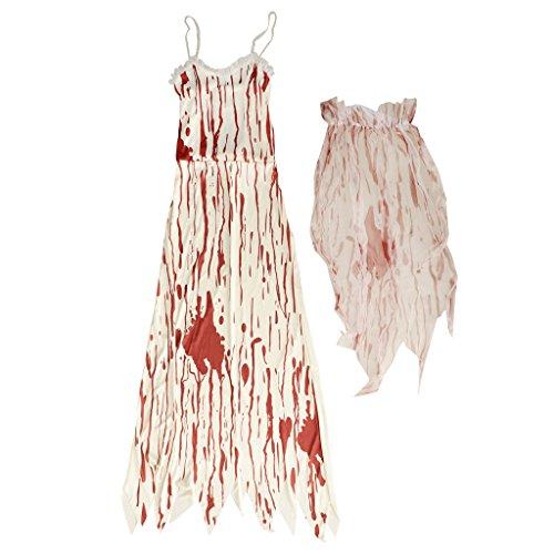 Kostüm Womens Braut Tote - FLAMEER Halloween Lady Cosplay Bloody Langes Kleid Schleier Halloween Kostüm