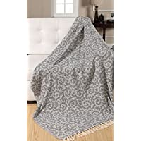EHC 100% Cotton Vintage Scroll Reversible Soft Throws for Sofa Blanket 125 x 150cms, Grey