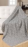 EHC 100% Vintage réversible Doux Plaids pour canapé Couverture 125x 150cms, Coton, Gris, Single