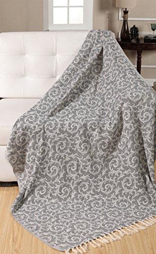 Ehc 100% vintage scroll reversibile copriletto soffice coperta per divano 125x 150cms, cotone, grigio, singolo