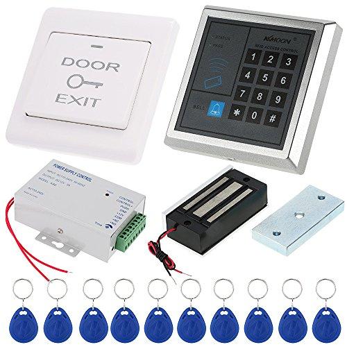 KKmoon Tür Eintrag Access Control System Kit Passwort Hostcontroller + 60KG / 132lb Elektro Magnetschloss + Tür-Schalter + DC12V Power Supply + 10pcs 125KHz RFID-Karten