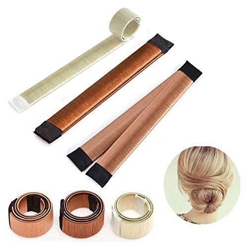 Ealicere 3 Pack Magic Hair Styling Donut Bun Maker, Hair Bun Shapers für Frauen Mädchen DIY Frisur Tools, Braun, Champagne und Gold