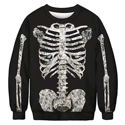 LHWY Winterjacke Herren Hoodie Männer Frauen 3D Skelett Print Langarm Sweatshirt Pullover O Neck Top Bluse (M, Schwarz) (Männer Hoodie Für Skelett)
