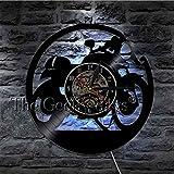 YUN Clock@ Wanduhr Aus Vinyl Schallplattenuhr Upcycling LED Motorrad Familien Dekoration 3D Design-Uhr Wohnzimmer Schlafzimmer Restaurant Wand-Deko Schwarz Ø: 30 cm