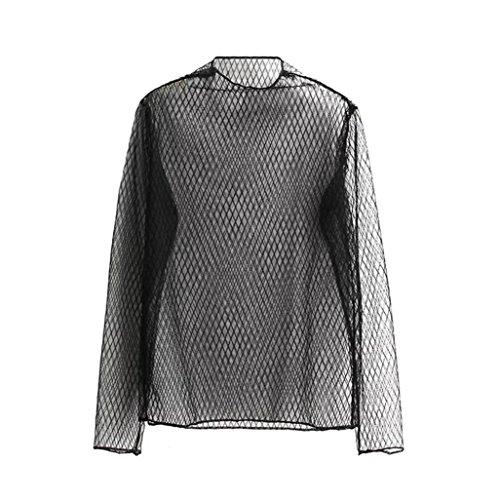 HARRYSTORE Frauen-dünnes Hemd-lange Hülsen-Schleier-Ernte-Perspektive höhlen heraus Spitze-Bluse aus C
