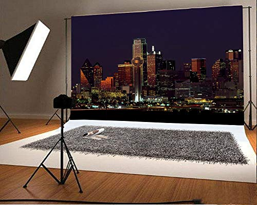 e Hintergrund Dallas Texas Wolkenkratzer Berühmte Gebäude der Stadt Lebhafte Nachtansicht Persönliche Porträts Hochzeitshintergrund Realistische Shooting Studio Requisiten ()
