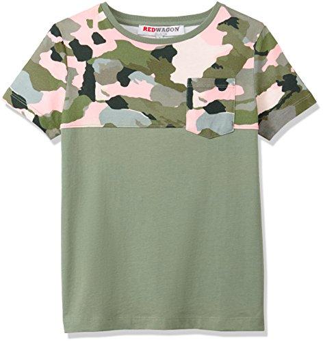 RED WAGON Jungen T-Shirt Camo Warning Tee, Grün (Khaki), 104 (Herstellergröße: 4 Jahre) (T-shirt Tee Design-khaki)