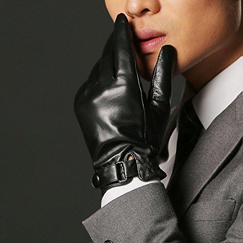 PinzhiGröße Herren Echte Lammfell Leder Knopf Handgelenk-Winter warme Fleece Futter Handschuhe(XXL) Thermisches Radfahren-handschuhe Frauen