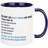 Tasse – Du bist der beste Freund/die beste Freundin der Welt (Blau - Bester Freund) – bedruckte Kaffeetasse mit lustigem Spruch – Geschenke für Männer, Geschenke für Frauen