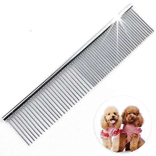 JTYR Haustier-Edelstahl-Kamm-Hundekatze-Edelstahl-Pflegekamm-Haar-Reinigung, die Metallhaustier-Kamm für Verschiedene Haustiere massiert -
