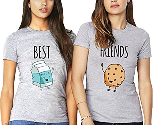Best Friends T shirt Pour 2 fille impression des Lait et Cookies intéressant femmes à manches courtes par JWBBU® (Best-S+Friends-S, Gris)