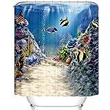 GWELL 3D Muster Duschvorhang Wasserdicht Hochwertige Qualität Anti-Schimmel mit 12 Duschvorhangringe für Badezimmer Fisch 180x210cm