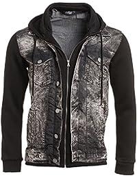 BLZ jeans - Gilet sweat en jean noir zippé à capuche