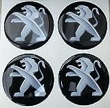 peugeot 60 mm nero tuning effetto 3d 3m resinato coprimozzi borchie caps adesivi stickers per cerchi in lega x 4 pezzi
