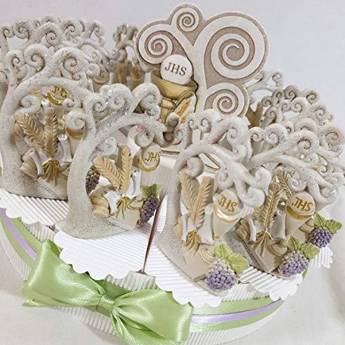 Bomboniere comunione albero della vita su torta portaconfetti confetti bianchi- torta 14 fette + 14 alberi comunione + portafoto centrale + confetti cioccolato