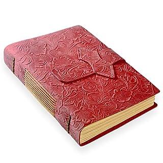 ScrodCat Ledertagebuch, A5-Notizbuch, antik, handgefertigt, ledergebunden, für tägliche Notizen, mit Blanko-Seiten, 20x 15cm, ideales Geschenk, Reisetagebuch flower rot