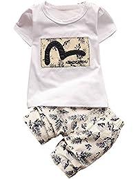 iBaste Camisetas Algodon Niño De Manga Corta T-camisa del bebé Lindo de la Historieta Camisa Pantalones cortos Moda