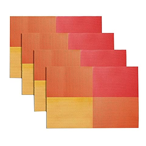 Famibay PVC Place Mats Non-slip Crossweave Woven Dining Table Mats for Home Daily Use and Restaurant Use Set of 4 (Orange )