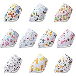 Ateid 10 Pcs Baby Cotton Dribble Bibs With Press Stud