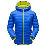 emansmoer Herren Winter Kapuze Leicht Puffer Ente Daunenjacke Winddicht Wasserdicht Outdoor Camping Wandern Jacke Mantel (X-Large, Blau)