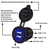Miya System Ltd USB-Ladegerät, 12V 24V Dual-USB-Steckdose 5V 4.2A Schnellladegerät, in Sich Geschlossene Schalttafel für Auto und Motorradbus Minivan (Blau)