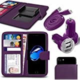 Archos 40 Neon - Fall Super-Essentials Pack Clamp Frühlings-Art PU-Leder-Mappe + Dual Einschuss Charger + Micro-USB-1 Meter flache Datenkabel - Purple