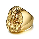XBMEN 27MM Acero Inoxidable faraón Egipcio Casting Anillo de Oro de los Hombres