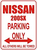 INDIGOS - Parkplatz - Parking Only- Weiß-Rot - 32x24 cm - Alu Dibond - Parking Only - Parkplatzschild - Nissan 200sx
