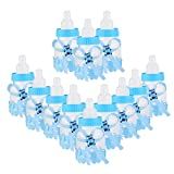 NUOLUX 12pcs Feeder Style Candy Bottle Gift Box Baby Shower Favors (Blue)