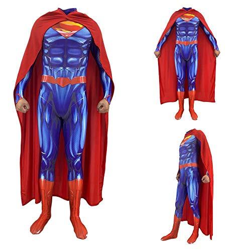 Kostüme für Erwachsene, Superman Steel Body 2 Siamesische Strumpfhose Cosplay Superman Erwachsene Kinder Anime Kostüm Child-XXL (Superman Kostüm Ändern)